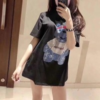 """Louis Vutitton × Supreme"" Women Casual Cute Fashion Hot Fix Rhinestone Cartoon Bear Pattern Short Sleeve T-shirt Top Tee"