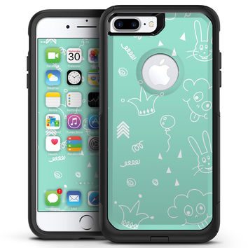 Teal Joker Mint Pattern - iPhone 7 or 7 Plus Commuter Case Skin Kit