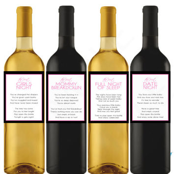 Printable Wine Labels, Baby Shower Wine Gift Basket New Mom Wine Labels Baby Gift Basket Unique Gift for New Mom Wine Gift Pink Download