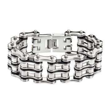 Silver and Black Stainless Steel Chain Bracelet