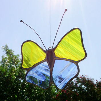 Butterfly Yellow and Blue Stained Glass Sun Catcher Free Shipping