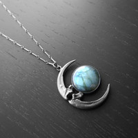 Lunar Eclipse Pendant II with Raven Talon Crescent Moon and Labradorite OOAK