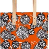 Pretty Orange Floral Print Summer Fashion Tote Bag created by Pasion4Fashion | Print All Over Me