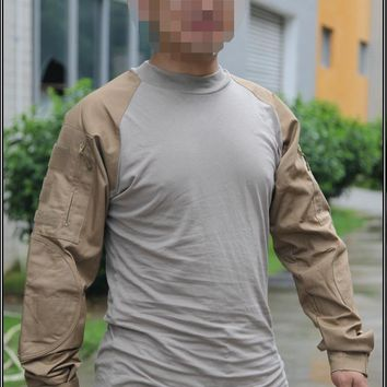 Emerson Combat Shirts Military  Airsoft Round Collar Tactical Long Sleeve T-shirts EM8516 Coyote Brown