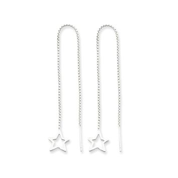 Sterling Silver Cut Out Star Threader Earrings