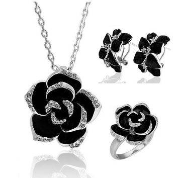 Silver Rhinestone Floral Necklace And Earrings And Ring