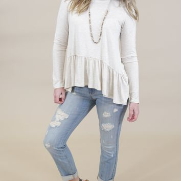 Dakota Crew Neck Ruffle Top, Oatmeal