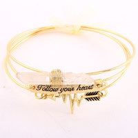Follow Your Heart Charm Bangle Bracelet - Gold or Silver