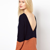 BA&SH Low Back Jumper in Chunky Knitted Cotton