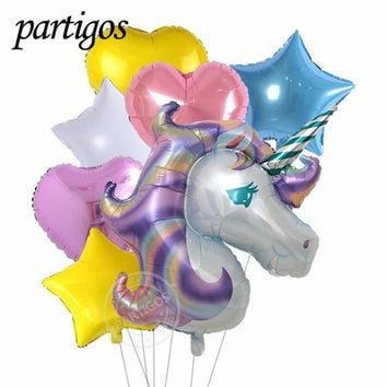 7pcs/set  Anagram Rainbow Unicorn helium Foil Balloons  18 inch Multicolor star heart balls theme party decor supplies baby toys