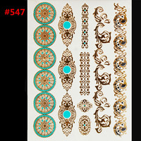 style body art painting tattoo stickers glitter Metal gold silver temporary flash tattoo Disposable indians tattoos tatoo
