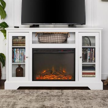 Highboy Fireplace Wood TV Stand Console - White