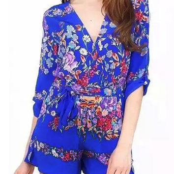 Blue Floral V Neck Waist-Tie Rompers with Sleeve