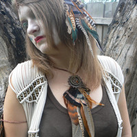 necklace earthtone feather dreamcatcher necklace amber turkey rooster in native american inspired tribal boho belly dancer and hipster style