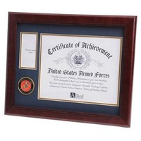 U.S. Marine Corps Medallion Certificate and Medal Frame Hand Made By Veterans