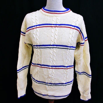 Vintage 90s Cable Knit Shaker Striped Indie Jumper Sweater Medium