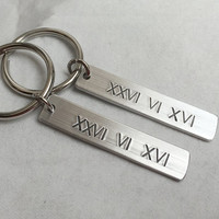His hers keyrings, Couples Gift, Personalized couples Girlfriend Boyfriend Gift, Anniversary Gift, Anniversary Date roman numerals keychain