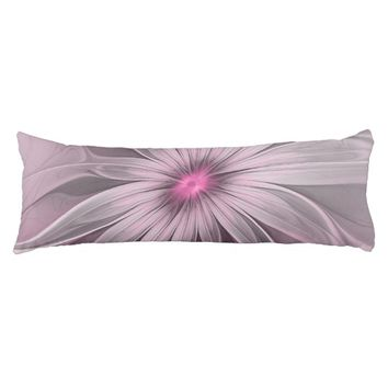 Pink Flower Waiting For A Bee Abstract Fractal Art Body Pillow