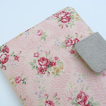 Nook Simple Touch Cover iPad Mini Cover Kindle Fire Cover Kobo Cover Case Pink Roses Romantic Floral Flowers eReader Katydidstitches