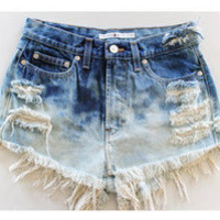 Distresses Dip Dyed Ombre Shorts