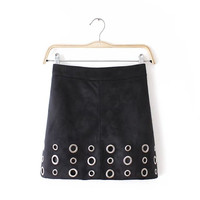 Rivet Faux Suede Leather A-Line Mini Skirt