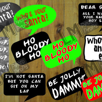 Naughty Christmas Photo Booth Props - Sayings Pack 1- INSTANT DOWNLOAD! DIY Craft Printable