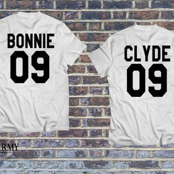 Bonnie and Clyde set of t-shirts, couple shirts Bonnie and Clyde, Bonnie Clyde jersey, matching couples shirts, shirts for him and her