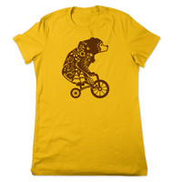 Funny T Shirt, Bear On A Bicycle TShirt, Funny Tshirt, Animal Riding Bicycle, Bear T Shirt, Bear Tshirt, Funny Tee, Ladies Women Plus Size