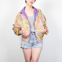Vintage 80s Windbreaker Jacket Purple Pink Yellow Abstract Print Bomber Jacket 1980s Wind Breaker Track Jacket Sporty Athletic S M Medium