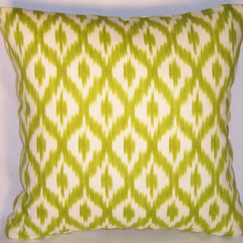 "Lime Green Ikat Throw Pillow Waverly Dedra Pistachio Diamond Dot 100% Linen Williamsburg 17"" Square Cover and Insert Ready to Ship"