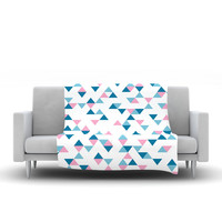 """Project M """"Triangles Pink"""" Blush Blue Fleece Throw Blanket"""