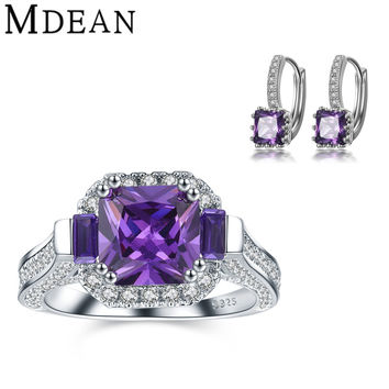 MDEAN earrings+rings for women jewelry set fashion accessories white gold plated wedding rings Purple Gem CZ diamond jewelry