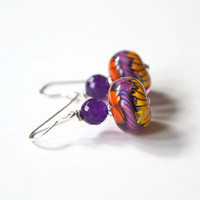 Purple Earrings, Colorful Jewelry, Glass Bead Earrings, Lampwork Glass Earrings, Bright Earrings, Stone Bead Earrings