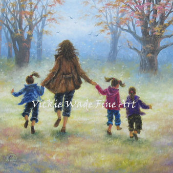 Mother and Three Daughters Art Print three girls, mom, wall art, Vickie Wade art