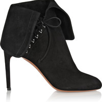 Alaïa - Fold-over suede ankle boots