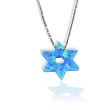 Blue Opal Star Of David On A Stainless Steel Necklace