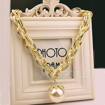 Fashion Pearl Chain Crystal Collar Chunky Statement Bib Charm Pendant Necklace