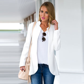 2016 Blazer Coat Women New Fashion Casual Jacket Long Sleeve Office Ladies White Blazers Work Wear blazer feminino