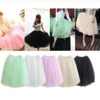 2014 Women Fashion 5 Layers Tutu Princess Chiffon Mesh Skirt Petticoat Knee-Length Sweet Girl Candy Color Skirts = 1946820548