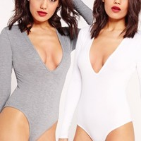 Missguided - Two Pack Long Sleeve Plunge Neck Bodysuit White and Grey