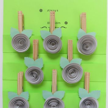Grey rose kitchen magnets, bag clips, office order hangers set of 8 neutral wedding decorations, bridal shower games