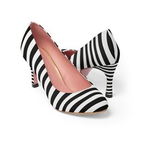 Black and white women's high heel shoes