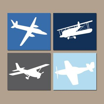 AIRPLANE Wall Art, CANVAS or Prints, Baby Boy Nursery Decor, Blue Airplane Theme, PLANES, Aviation Decor, Set of 4, Big Boy Bedroom Pictures
