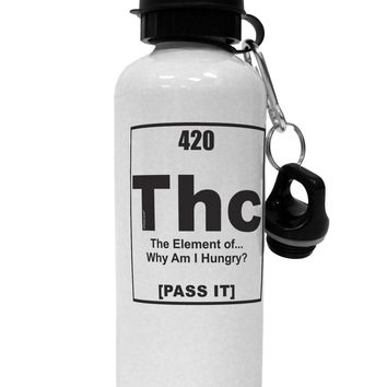 420 Element THC Funny Stoner Aluminum 600ml Water Bottle by TooLoud