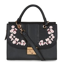 Black Embroidered Shoulder Bag