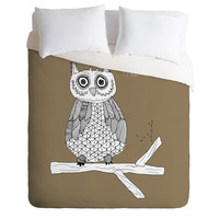 Big Brown Owl Duvet Cover - Brown Duvet - Owl Duvet - Owl Blanket - Owl Bedding - Kid's Owl Blanket Twin, King Queen Size Duvet