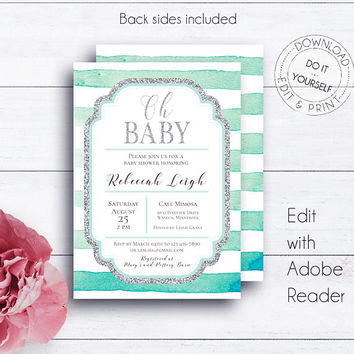 Striped Baby Shower, Mint and Silver, Printable Invitation, Baby Shower Invite, DIY Shower Invite, Shower Invites, Mint Invitation, Glitter