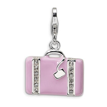 925 Silver Pink Laptop Case Charm Created with Swarovski Crystals