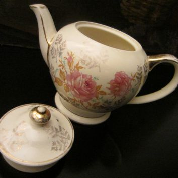 Sadler England Teapot Gilt Decorated Pink Flowers JE Initial