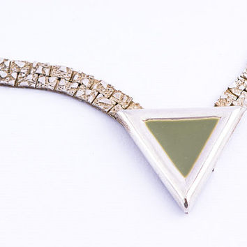 Vintage 1980s Green Foam Triangle Necklace